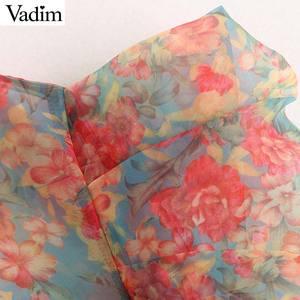 Image 4 - Vadim Женская Сексуальная Цветочная Органическая блузка прозрачный стиль галстук бабочка с длинным рукавом женские прозрачные шикарные топы blusas LB311