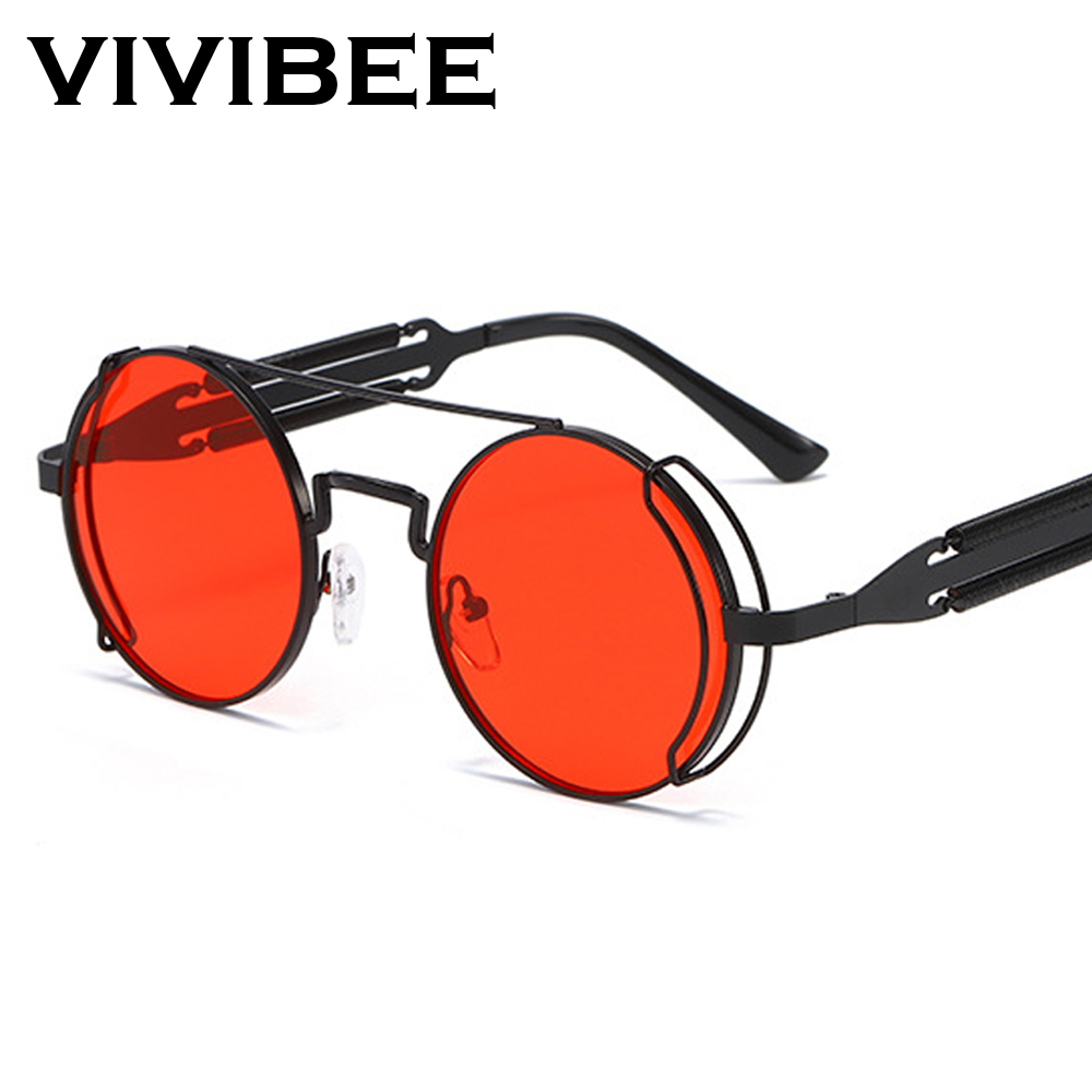 VIVIBEE Steampunk Sunglasses Men Round Red Lens Punk Sun Glasses Black Metal Gothic Style 2020 New Products Women UV400 Shades