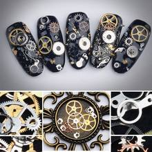 3D Cool Metal Machinery Gear Nail Art Stickers Gold Metallic Charms DIY Decoration Manicure Tools(China)