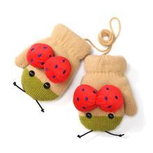 Термо детские зимние перчатки вязаные варежки в виде божьей коровки мягкие дышащие перчатки шеи Висячие для маленьких мальчиков и девочек спортивная одежда