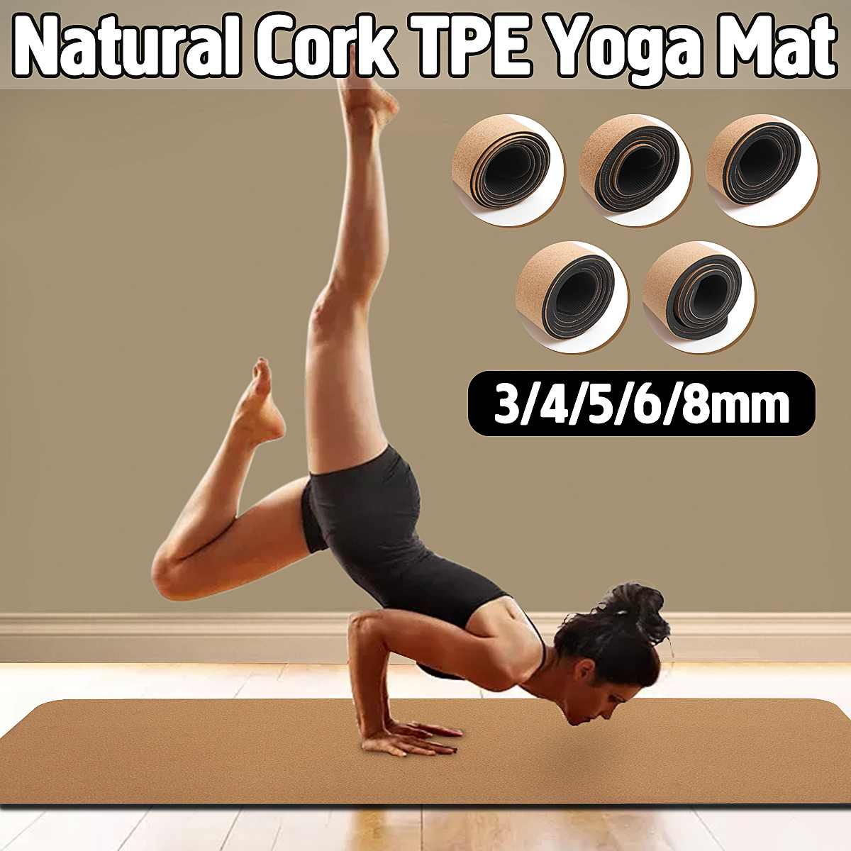3/4/5/6/8 Mm Natural Cork TPE Yoga Mat Non-slip Fitness Gym Exercise Sports Absorb Sweat Pilates Pads 183X61cm