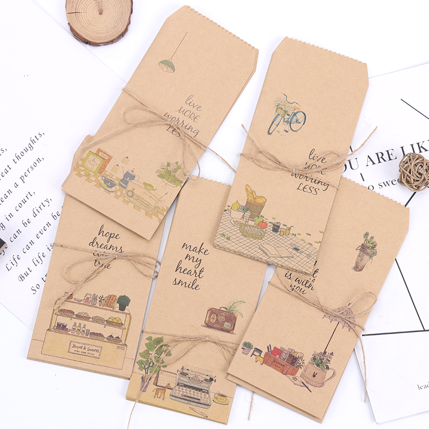 5PCS Kawaii Those Small Things Kraft Paper Envelope Office School Supply Message Card Letter Storage Stationary Gift