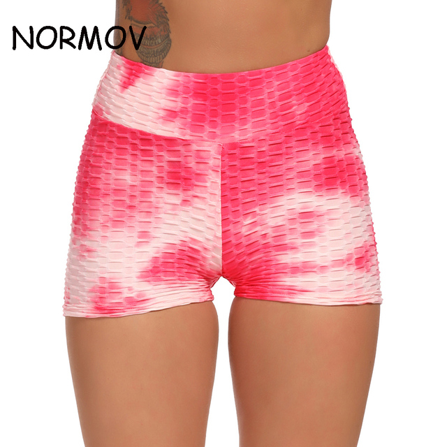 NORMOV Printed Shorts Women Sexy Push Up Fitness Short Legging High Waist Gym Trunks Running Tights Sportswear 1