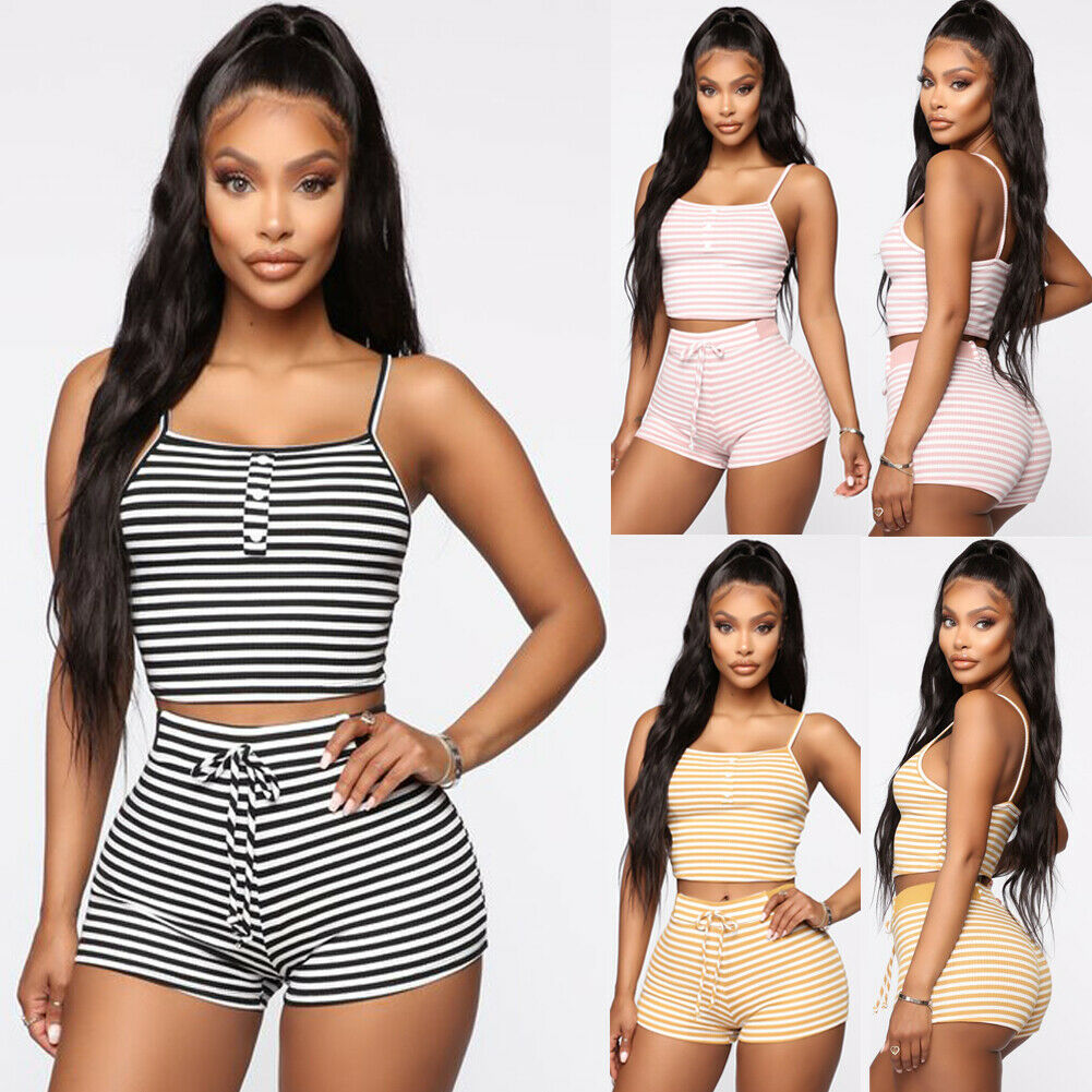 Women 2pcs Set Striped Slim Pajama Set Sleepwear Sexy Sleeveless Stripe Crop Top Shorts Set Night Wear Homewear