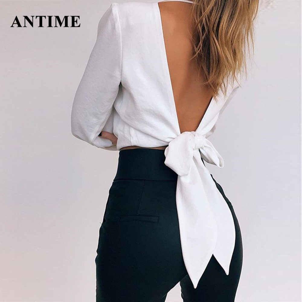 Antime, женская шифоновая блузка, v-образный вырез, сексуальная, открытая спина, бант, шнуровка, длинный рукав, женские топы, тонкие, вечерние, белые, желтые, красные рубашки