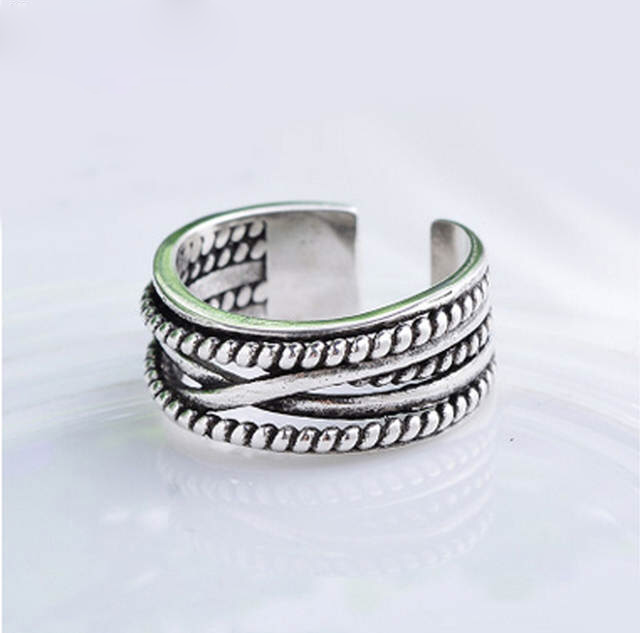 Real 925 Sterling Silver Rings For Women Wedding Engagement Jewelry Big Vintage Antique Open Finger Rings Bijoux