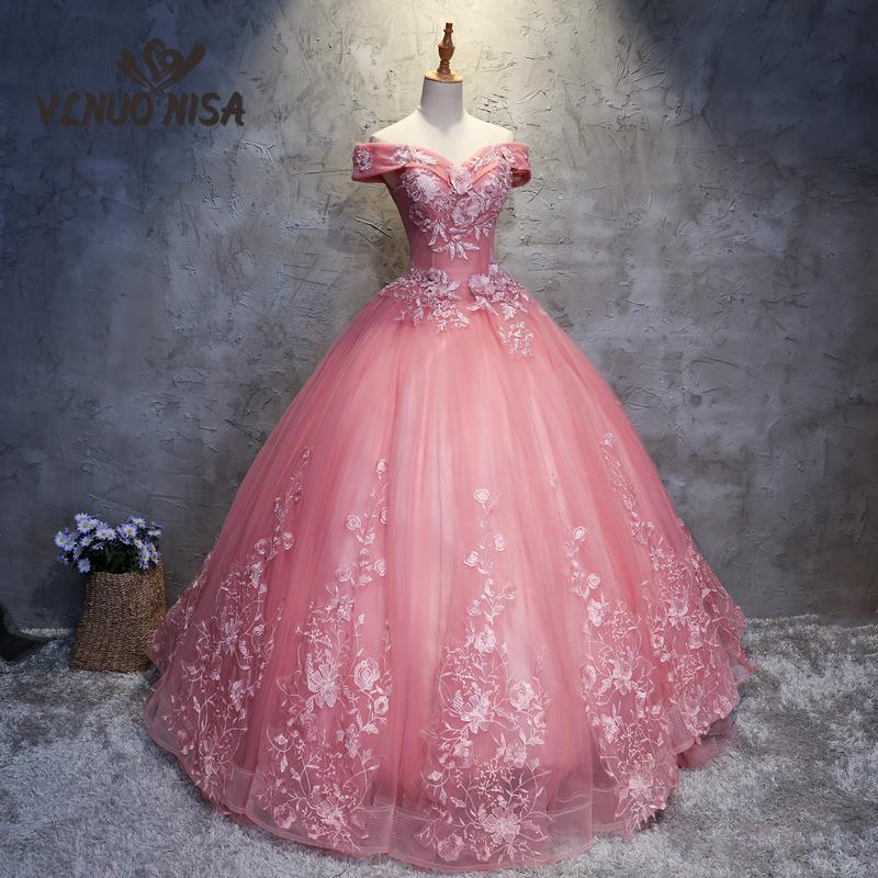 VLNOU NISA Pink Hot Fashion 2018 New Quinceanera Dress Vestidos De Party Prom Formal Sexy Off The Shoulder Sweet Floral Print