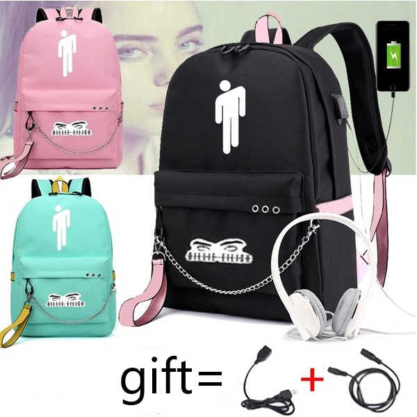 Billie Eilish Backpack Zipper Sac A Dos USB Charging  Mochila Pink Bags Men Anti-theft Kpop School Bags for Teenage Girls