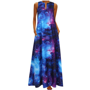 Bohemian Women Dress Fashion Galaxy Print Long Sundress Plus Size Sleeveless V Neck Maxi Dress Vintage Woman Party Robe Vestidos