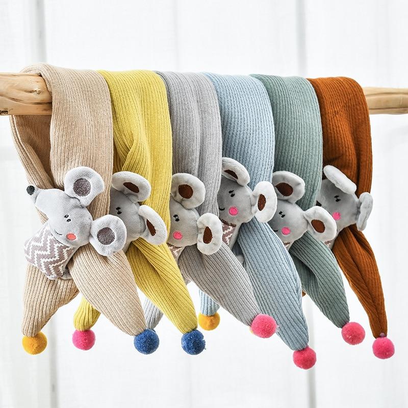 Korean-style Children Radish Scarf Winter Warm Yarn Bandana Men And Women Child Baby Cross Scarf