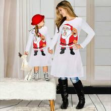 Рождественское платье с длинными рукавами для всей семьи; Одинаковая