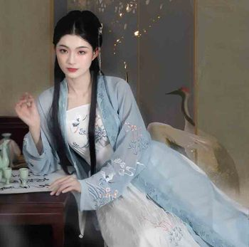 Women Hanfu Deluxe Chinese Ancient Vintage Dresses Blue with White Set Fantasia Female Cosplay Costume Outfit For Lady Plus Size