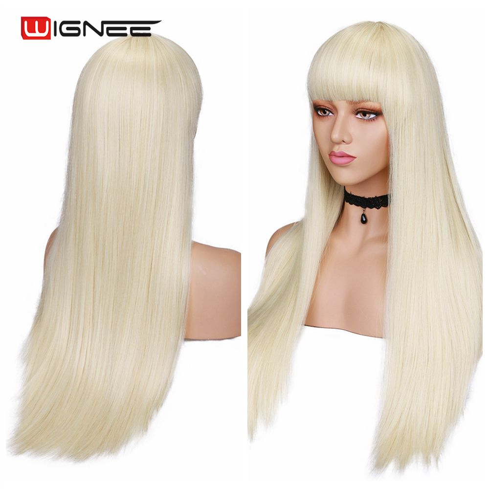 Wignee Long Straight White Synthetic Wigs With Bang for Women Hair Cosplay /Party /Costume Glueless Natural Female Hair Wigs