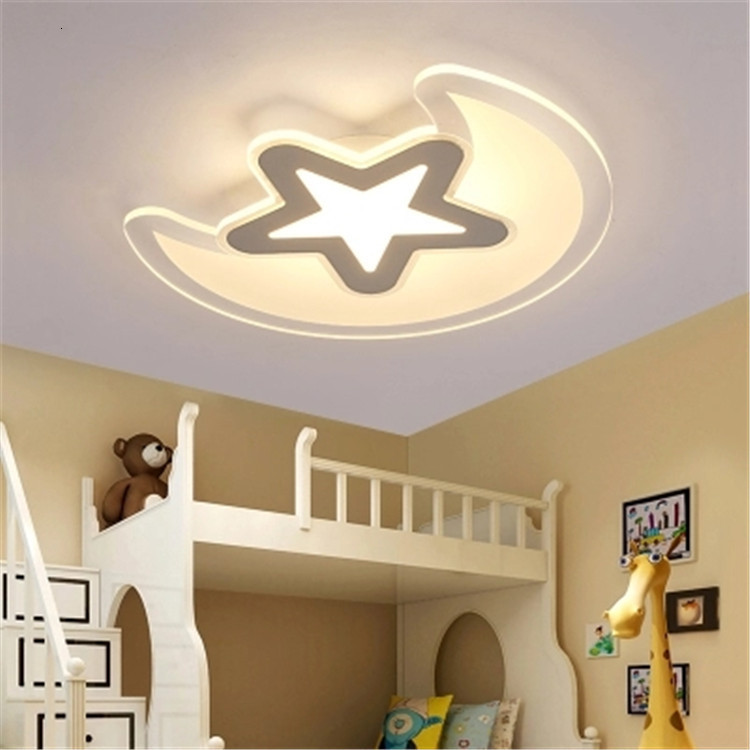 Concise Ultrathin Led Attract Top Light Originality Personality Children Bedroom Lamp Stars Moon Boy Girl Room Illuminations|Ceiling Lights| |  - title=