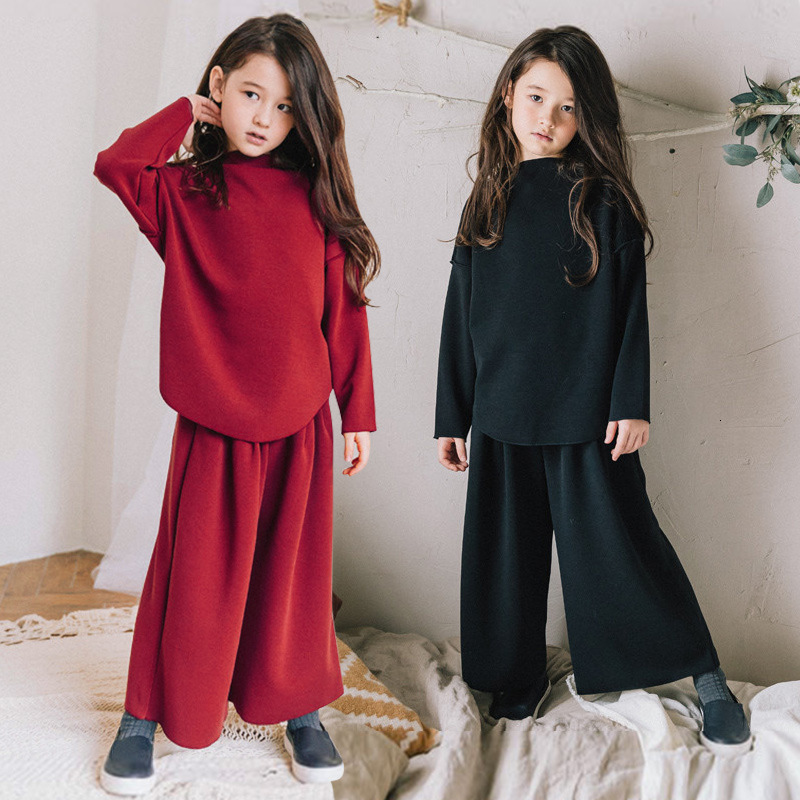 Cotton Dim Dress Set Kids 2019 Fall Winter Wear Set Girls 2pcs Loose Hoodie and Wide Leg Pants Set