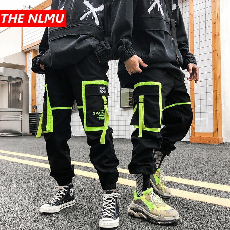 Hip Hip Black Big Pocket Patchwork Harem Pants Men Joggers Pant Ribbon 2019 Autumn Fashion Streetwear Dancing Trousers WG604
