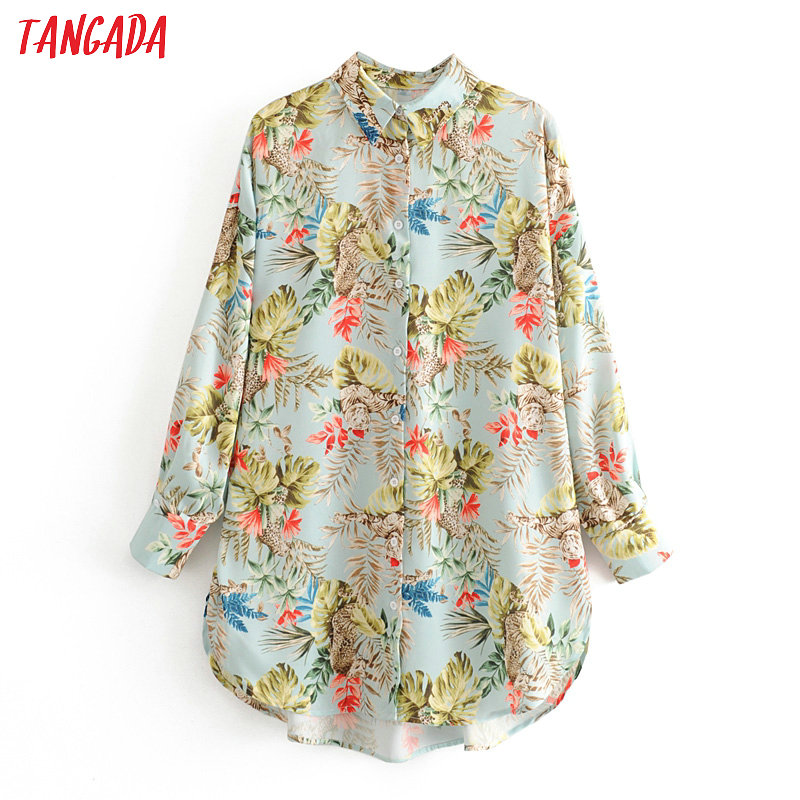 Tangada Women Retro Oversized Tree Print Holiday Blouse Long Sleeve Chic Female Casual Loose Shirt Blusas 3H454