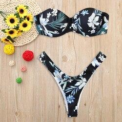 Mikrobikini kobiety drukuj Tube up bikini dwuczęściowe strój kąpielowy push up stroje kąpielowe kostiumy kąpielowe kostiumy kąpielowe 2