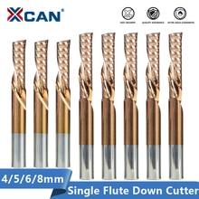 XCAN один флейта вниз фрезы с покрытием ticn покрывая 4 5 6 8 мм хвостовик левой рукой фрезы для CNC древесины маршрутизатор бит карбид концевая фреза