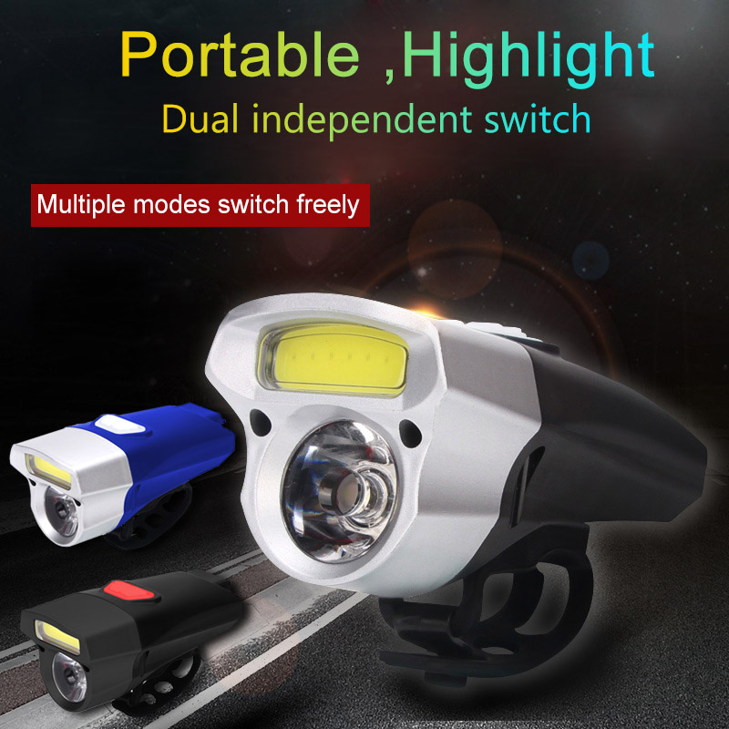 Bike USB Rechargeable Bicycle Light Double Lamp Beads Waterproof Bright Handlebar Bike Headlight   FDX99