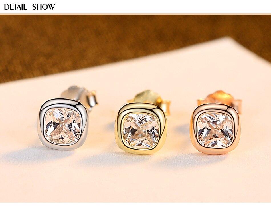 新品详情页_02 - Gem &amp, Time Minimaliste, 925 En Argent Sterling, Cubique Zircon Boucles D'oreilles,