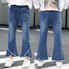Girls Pants Europe and America Fashion Style Jeans Flared Trousers Children Toddler Baby Kids Denim Bell Bottom Boot Cut Pants все цены