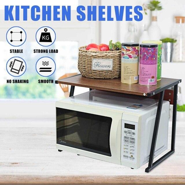 2 Tier Microwave Oven Rack Stand Shelf Carbon Steel Stand Kitchen Storage Organiser Space Saving Shelf Kitchen Organizer Holder