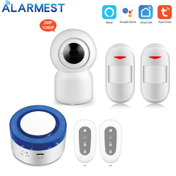 Wireless WIFI Alarm System Siren Security smart life app control compatible with Alexa  wifi camera smartyiba app push sms voice monitoring wireless wifi smart home burglar alarm sensor alarm with ip camera wireless siren horn