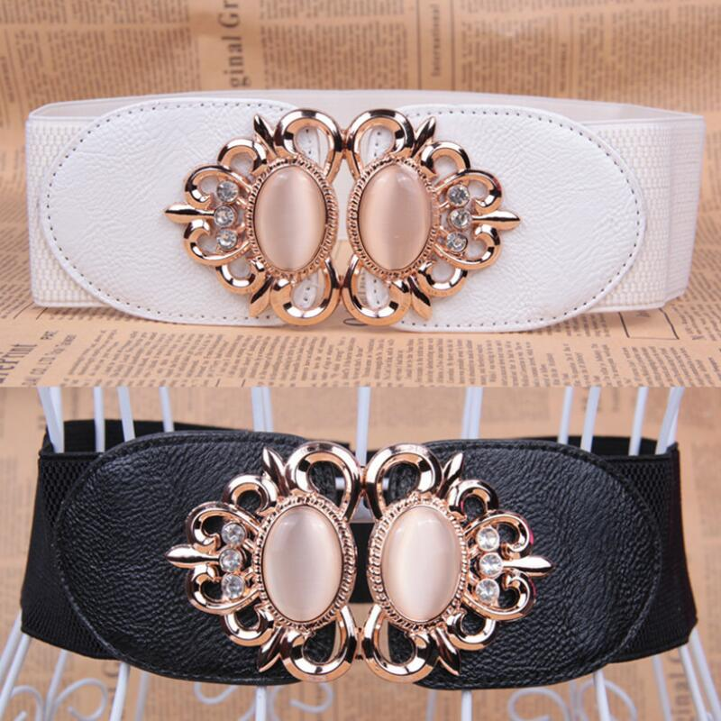 New Luxury Brand Fashion Girl Waist Seal Korean Style Waist Sealing Matchs Skirt Cat Eye Stone Water Diamond Elastic Wide Belt