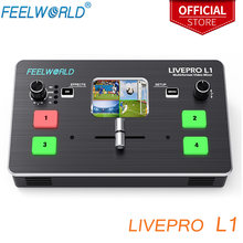 Feelworld livepro l1 multi-formato misturador de vídeo switcher 4 entradas hdmi multi câmera produção usb3.0 fpr streaming ao vivo youtube