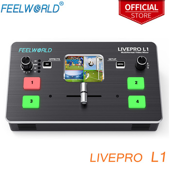 FEELWORLD LIVEPRO L1 Multi-format Video Mixer Switcher 4 HDMI inputs multi camera production USB3.0 fpr live streaming Youtube