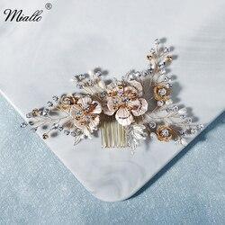 Miallo moda folha flor pente de cabelo clipes para mulheres strass nupcial casamento acessórios para o cabelo jóias noiva headpiece presentes