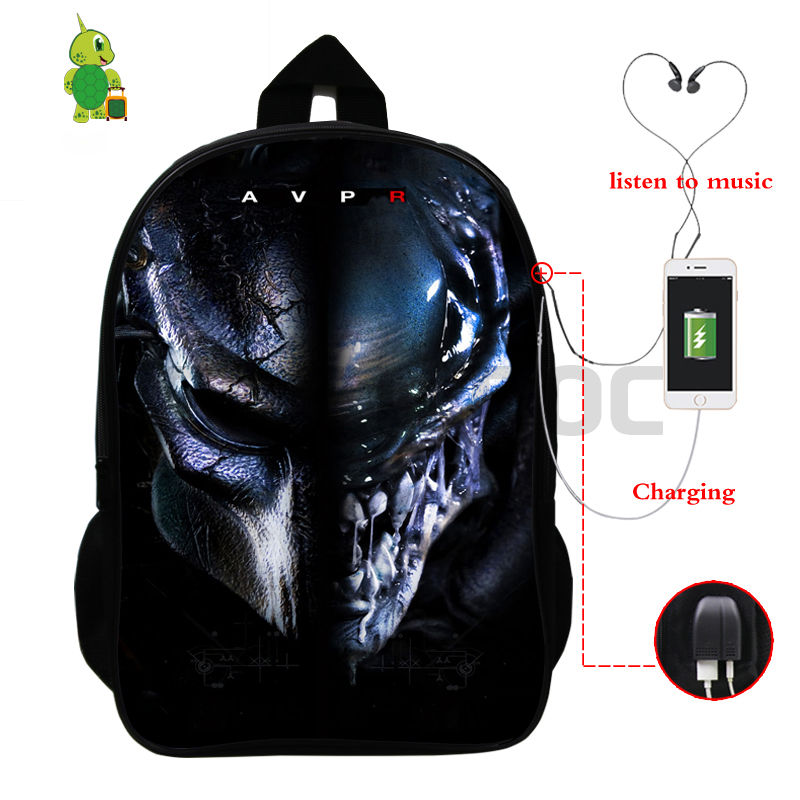 Horrible Alien VS Predator Backpack Multifunction USB Charge School Bags For Teenage Girls Boys Daily Backpack Large Travel Bags