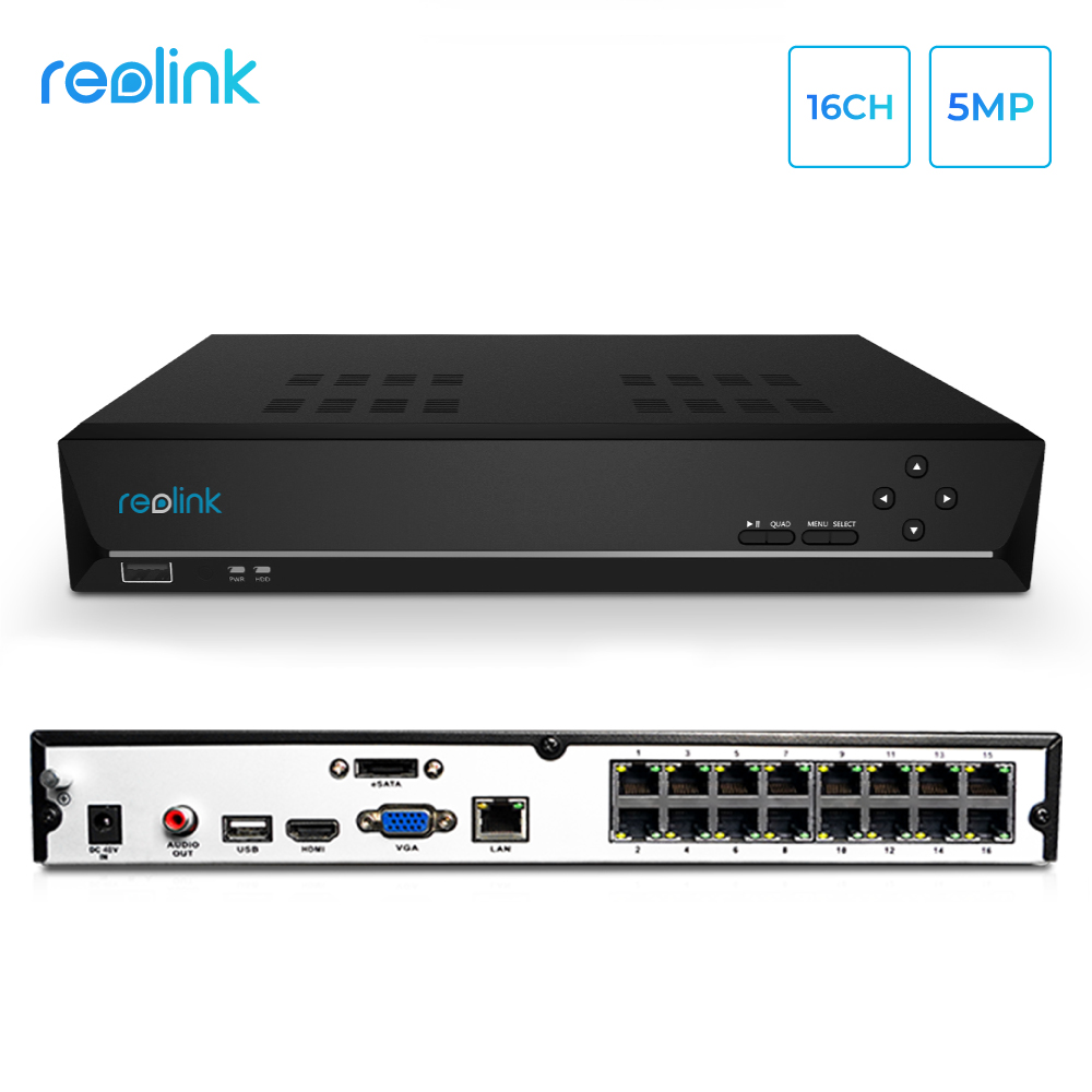 Reolink 16ch 5MP 4MP PoE Network Video Recorder  ONLY for Reolink HD IP Cameras RLN16 410 NO HDD|Surveillance Video Recorder| |  - title=