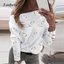 Sexy fora do ombro amor coração impressão senhoras blusa feminina elegante slash pescoço botão topos casuais plus size solto streetwear