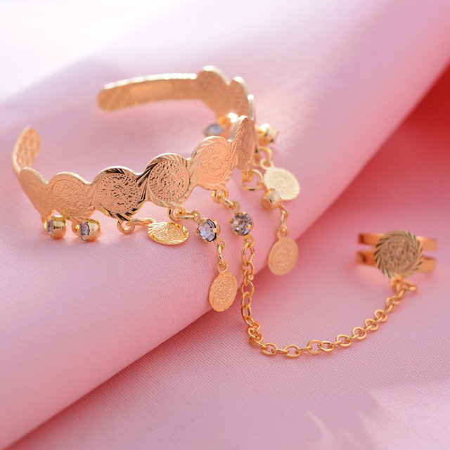 Wando Free Size Kids/Baby/Girls Coin Bracelet Bangles  Baby Islam Muslim Arab Coins Money bracelet Child holiday Hallowee gift