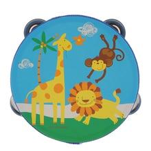 Деревянный Мини-ТАМБУРИН ручной барабан с колокольчиками для малышей 6 дюймов бубен дети деревянная перкуссия инструмент