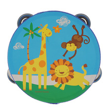 Hand-Bell-Drum Tambourine Wooden Baby Kids 6inch Percussion-Instrument for Toddlers Mini