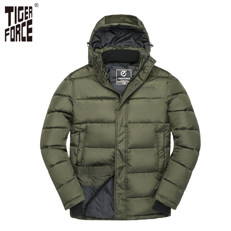 TIGER FORCE Winter Men Jacket Male Padded Coat Mens Parka Spring Autumn Warm Jacket Men Casual Hooded Jackets Outerwear