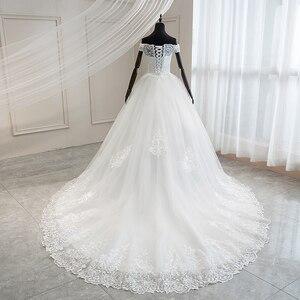 Image 5 - Mrs Win 2020 Luxury Lace Embroidery Wedding Dresses Off The Shoulder 100cm Long Train Sweetheart Vestido De Noiva