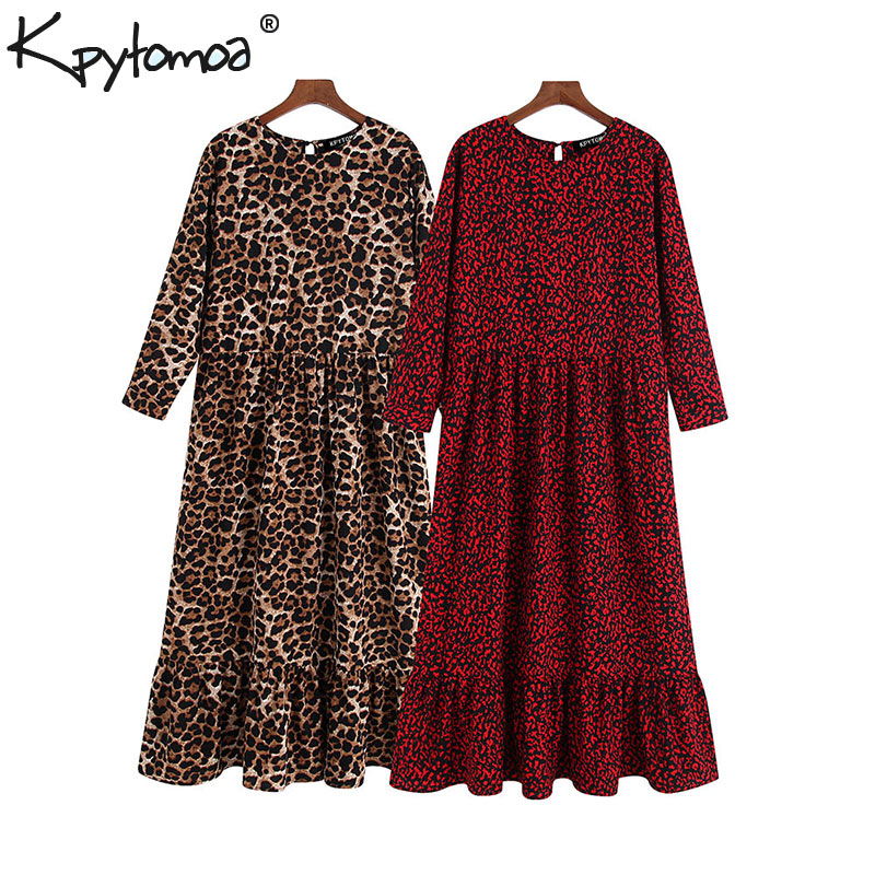 Vintage Stylish Leopard Print Ruffled Midi Dress Women 2019 Fashion O Neck Three Quarter Sleeve Elegant Dresses Vestidos Mujer