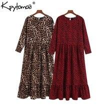 Vintage Stylish Leopard Print Ruffled Midi Dress Women 2019 Fashion O Neck Three