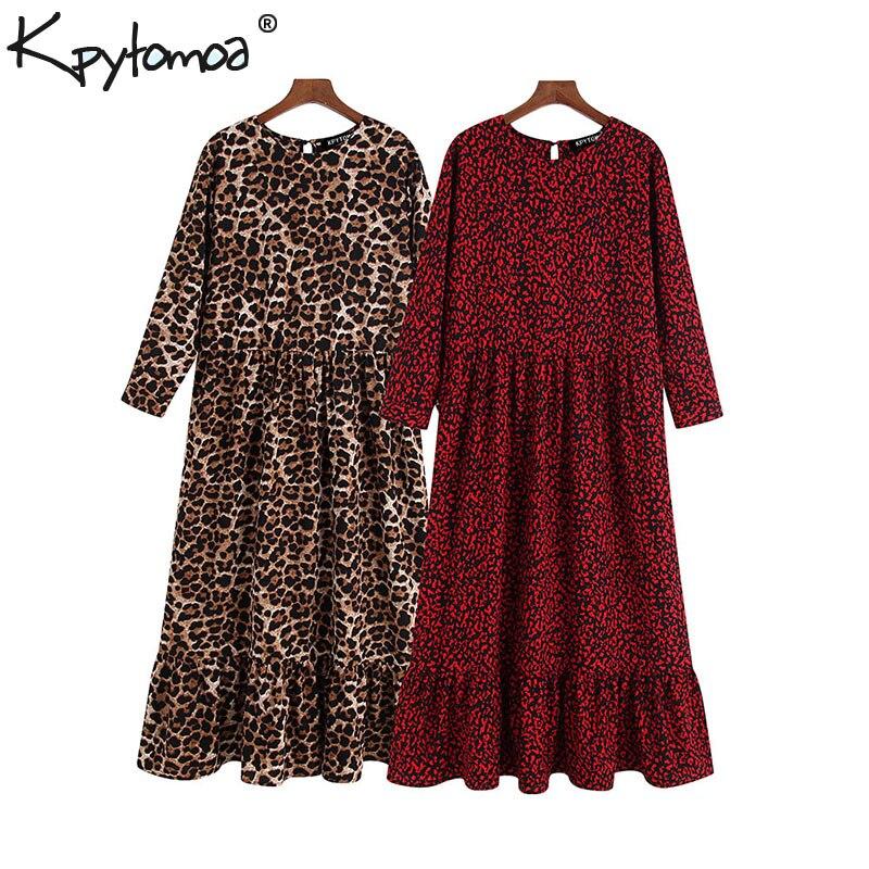 Vintage Stylish Leopard Print Ruffled Midi Dress Women 2019 Fashion O Neck Three Quarter Sleeve Elegant Dresses Vestidos Mujer