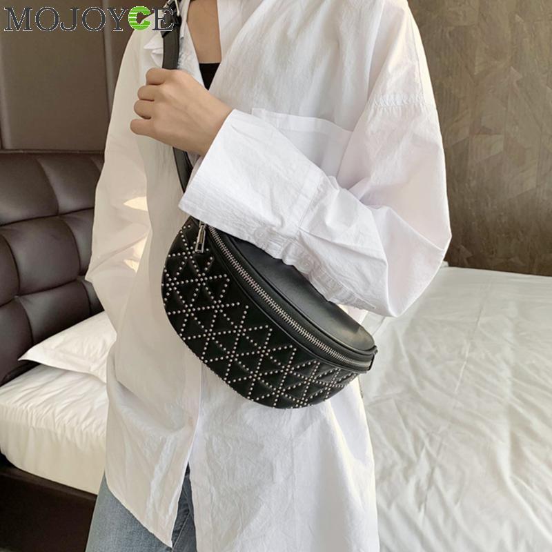 Lattice Waist Bags For Women 2019 Female Belt Bag Solid Leather Chest Bags Chain Strap Crossbody Belt Bag