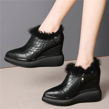 2020 Tennis Shoes Women Genuine Leather Platform Wedges High Heel Party Pumps Female Fashion Sneakers Punk Trainers Casual Shoes outdoor creepers women cow leather wedges high heel party pumps punk goth tennis shoes round toe platform oxfords trainers shoes