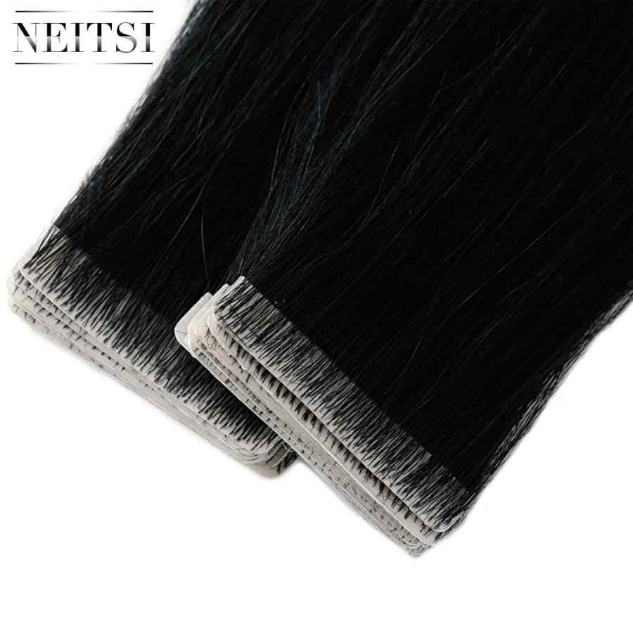 "Neitsi Straight PU Skin Weft Hand Tied Tape In Adhesives Remy Human Hair Extensions 16"" 20"" 24"" 20pcs/40pcs FedEx Fast Shipping"