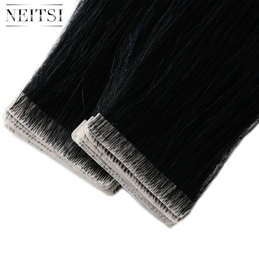 Neitsi em linha reta da pele do plutônio trama mão amarrado fita em adesivos remy extensões de cabelo humano 16