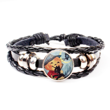 New Halloween Black Cat and Pumpkin Leather Bracelet Glass Dome Party Jewelry Accessorie Gift Souvenir
