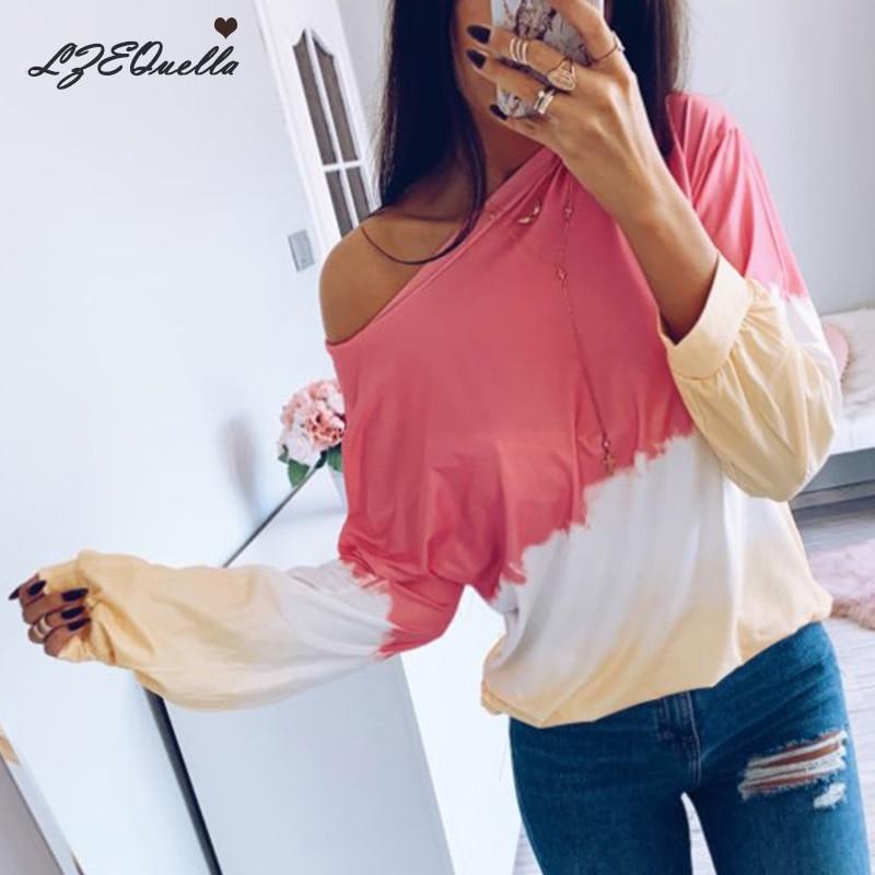 LZEQuella Women Autumn Winter Gradient Color Print Hoodies Sweatshirt Casual O Neck Long Sleeve Pullovers Female Tracksuit Top