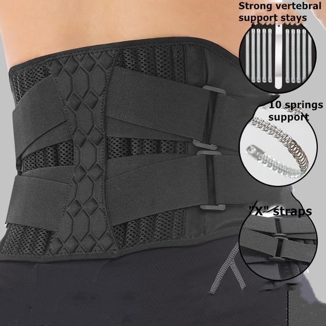 Lumbar Waist Support Belt Strong Lower Back Brace Support Corset Belt Waist Trainer Sweat Slim Belt for Sports Pain Relief New 5